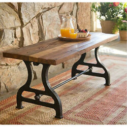 Garden Bench Reclaimed Wood Iron Benches Outdoor Rustic Work Table Coffee Patio