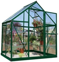 Powder Coated Palram Harmony 6 ft. x 4 ft. Polycarbonate Greenhouse In Green