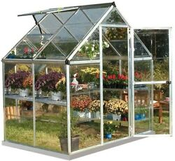Palram Harmony 6 ft. x 4 ft. Crystal-Clear Polycarbonate Greenhouse In Silver