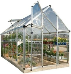 Metallics Palram Snap and Grow 6 ft. x 12 ft. Silver Polycarbonate Greenhouse