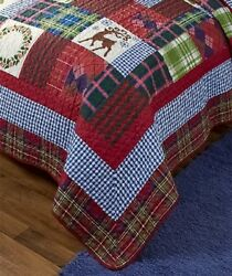 1 FULL QUEEN HOLIDAY QUILT COMFORTER RUSTIC LODGE LOG CABIN BEDROOM HOME DECOR