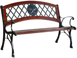 Steel Patio Bench Brown Hardwood Seat Heavy-Duty Cast-Iron Legs Garden Treasures