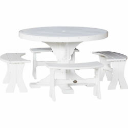 Outdoor 4 Foot Round Table and 4 Benches