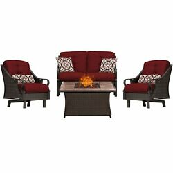 Hanover Ven4Pcfp-Red-Tn 4 Piece Ventura Fire Pit Chat Set In Crimson Red