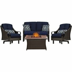 Hanover Ven4Pcfp-Nvy-Wg 4 Piece Ventura Fire Pit Chat Set In Navy Blue