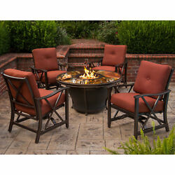 Premium Sunlight 5-piece Chat Set with Fiberglass Round Gas Fire Pit Table
