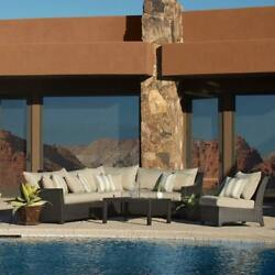 RST Brands Slate 6-piece Corner Sectional Sofa and Coffee Table Outdoor Patio
