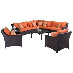 RST Outdoor 'Tikka' 9-Piece Corner Sectional Sofa and Club Chairs Patio