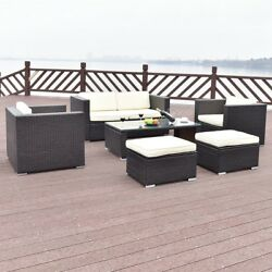 6PCS Home Patio Rattan Wicker Furniture Set Sofa Ottoman Coffee Table Porch US