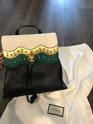 Gucci BackPack - Black White Green and Gold with Lion and stud details