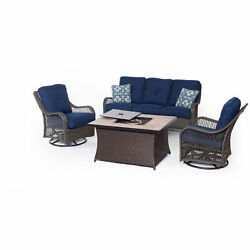 Hanover Outdoor Orleans Navy Blue Wood 4-piece Woven Lounge Set with Fire Pit