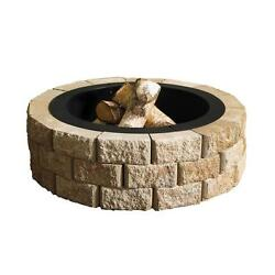 Round Fire Pit Kit Outdoor Wood Burning Fire Hudson Stone 40 in.