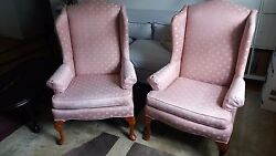 Matching Pair of  Wing Back Arm Chairs Queen Anne Style Excellent Used Condition