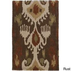 Hand-Tufted Penny Ikat Pattern Wool Rug (3'3 x 5'3)