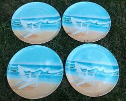 "Set of 4 ~ 11"" Precidio Plastic Dinner Plates ~ Adirondack chain and Ocean waves"