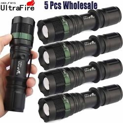 Ultrafire Tactical 5PCS 50000LM Flashlight Zoomable 3 Modes Torch CREE T6 LED $20.99