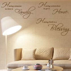 Family Home Blessing Art Quote Wall Stickers Bedroom Words Phrases Wall Decals GBP 14.99