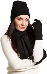 Fishers Finery - Hat Gloves and Scarf Set with Gift Box - 100% Cashmere -