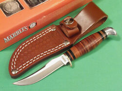 MARBLES MR396 SMALL HUNTER Stacked Leather fixed blade knife 6 1 4quot; overall NEW $19.90