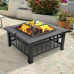Wood Burning Fire Pit Outdoor Heater Backyard Patio Deck Stove Fireplace Table