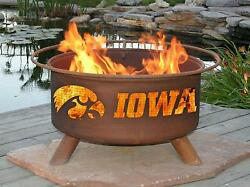Fire Pit University of Iowa Includes Spark Screen Cover Poker BBQ Grill...