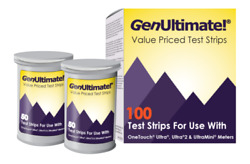 GenUltimate Test Strips 100ct for OneTouch Ultra Ultra2 Meters Exp 9162021
