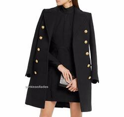 Balmain Double-breasted black Wool Cashmere Coat FR38 UK10 New sold out Blazer