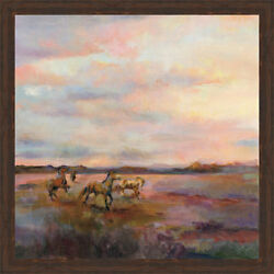 Ashton Wall Décor LLC 'Mustangs Under Big Sky' Framed Painting Print on Canvas