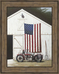 Ashton Wall Décor LLC 'Barn and Motorcycle' Framed Photographic Print AWDC2648