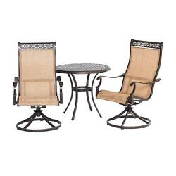 Legacy 3pc Round Metal Patio Bistro Dining Set - Tan - Hanover