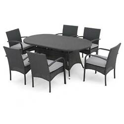 Anthony 7pc Oval All-Weather Wicker Patio Dining Set - Gray - Christopher Kni...