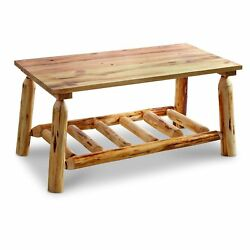 Real Pine Log Coffee Table Rustic Natural Lodge Home Cabin Clear Finish 14x14x30
