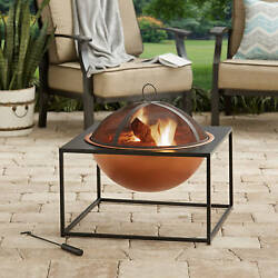 Backyard Fire Pit Fireplace Patio Outdoor Modern Contemporary Bronze 26 inches