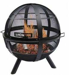 Backyard Fire Pit Fireplace Patio Outdoor Modern Contemporary Black Ball 30