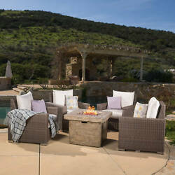 Kingsbay Outdoor 4-piece Wicker Club Chair Set with 32-inch Fire Pit by