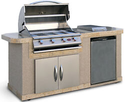 Outdoor Kitchen Islands 4-Burner Built-In Propane Gas Grill with Side Shelves