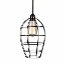 Edison Plug In Pendant Light Swag Lamp Antique Vintage Industrial Wire Cage 5-7