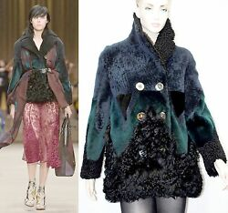 $9000 Burberry Prorsum 8 10 42 Patchwork Shearling Jacket Coat Women Lady NEW B
