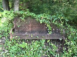 Antique Vtg Large Heavy Wrought Iron Garden Park Bench Old Paint Surface