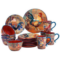 Rustic Rooster Country Dinnerware Set Ceramic Dishes Cabin Lodge Kitchen 16 PC