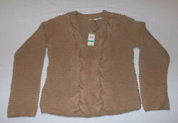MAXSTUDIO.COM Women's Wool Cable Knit Sweater in Camel Size Large NWT $198