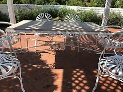 Vintage Iron Patio Furniture (circa 1920 - 1930) - 10 chairs & 1marble top table