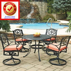 Outdoor Dining Table Set NO Rust Cast Alum 5 Pc-Swivel Rocking Chairs