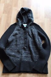 Columbia Whiteout Hooded Sweater XL Women's Black Grey Wool Acrylic Used
