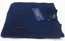 $398 NWT polo Ralph Lauren soft 100% Italian yarn cashmere cable sweater navy S