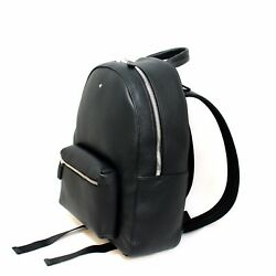 Man Woman backpack MONTBLANC MEISTERSTUCK soft grain black leather New 116736