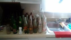 large collection old bottle 1900's coca cola bubble up royal crown listerine.