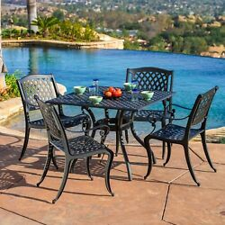 Outdoor Cayman 5-piece Cast Aluminum Black Sand Dining Set by Christopher Knight