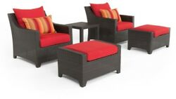 5-Piece Outdoor Patio Furniture Club Chair Ottoman Set Sunset Red Cushions