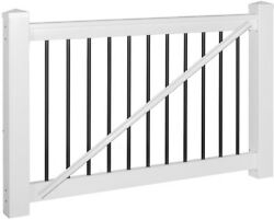 Gate and amp; Stair Railings Kit White Vinyl w Round Black Aluminum Spindles